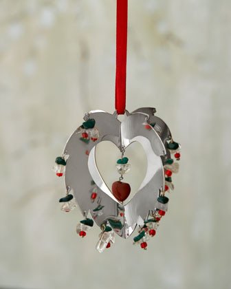 Silver Heart Holiday Ornament traditional-holiday-decorations