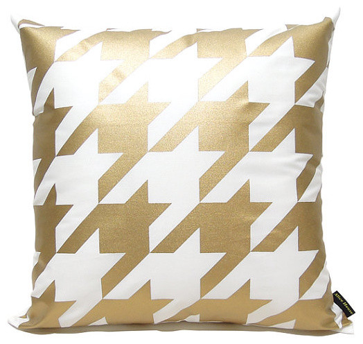 Modern Gold Pillows : Houndstooth Pillow Cover, Gold by Alive House - Modern - Decorative Pillows - by Etsy