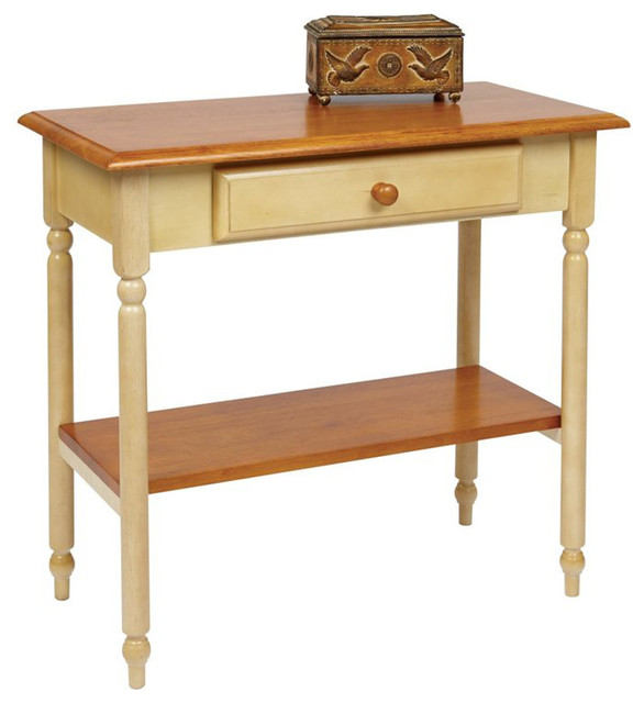 Office Star Country Cottage Foyer Table in Antique Yellow - Farmhouse - Side Tables And End ...