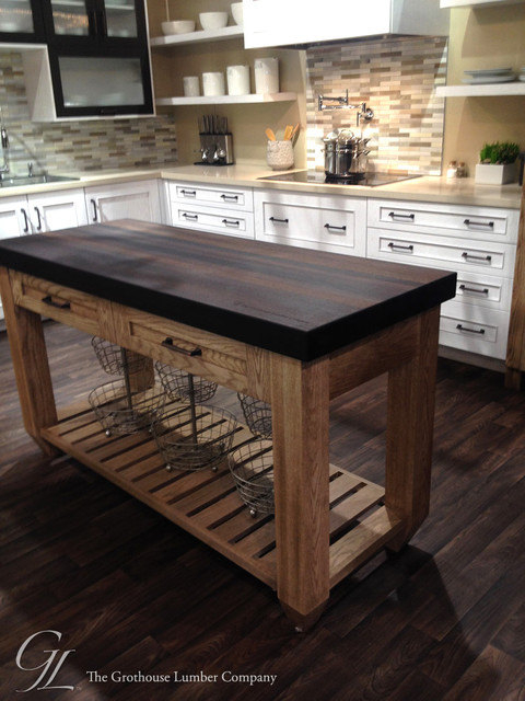 Wenge wood countertop featured in elkay display booth at for Kitchen island booth
