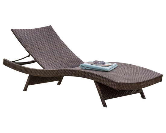 Great Deal Furniture - Eliana Outdoor Brown Wicker Chaise Lounge Chair, Single - Lounge in the outdoors in modern style and comfort with the Eliana Chaise Lounge Chair. Constructed from all-weather resistant wicker wrapped around an iron frame, the Eliana Chaise Lounge Chair is designed with you in mind. The seat curves are designed to conform to the body and the adjustable features allows users to adjust the backrest to their preference. Perfect for tanning and enjoying the outdoors or pool side, you will want to purchase a few of these chaise lounge chairs.