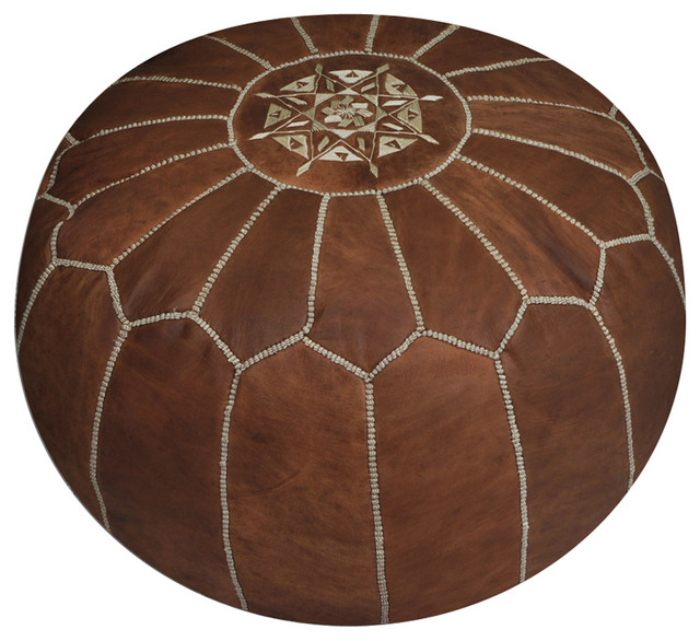 Moroccan Tan Leather Pouf traditional-footstools-and-ottomans