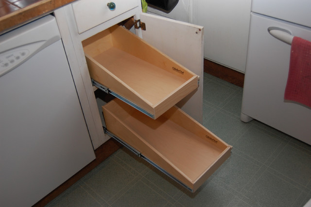 Pull out shelves for base kitchen cabinets cabinet and drawer organizers toronto by Bathroom cabinet organizers pull out