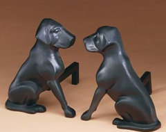 Black Lab Andirons eclectic-fireplace-accessories