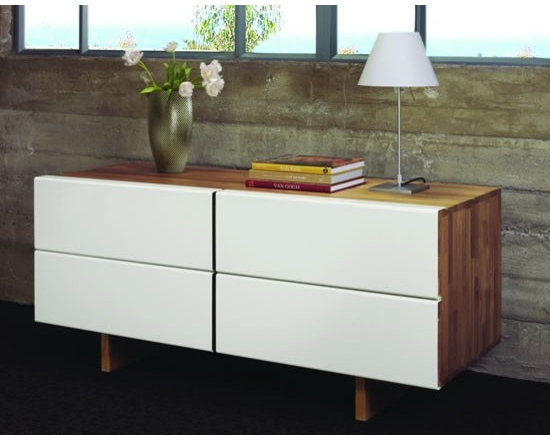 MASHstudios LB Dresser - Conceal your wardrobe in this beautifully crafted 4 drawer LB Dresser by MASHstudio. Aluminum wrapped solid wood drawer fronts with side finger pulls and a undermounted door slide, give this piece a clean minimalist approach.