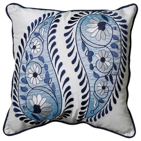 Lucilla Blue/White 18 Inch Pillow modern-bed-pillows