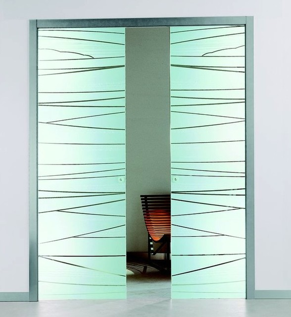 Etched Glass Pocket Sliding Door - Contemporary - Interior Doors - by Modernus