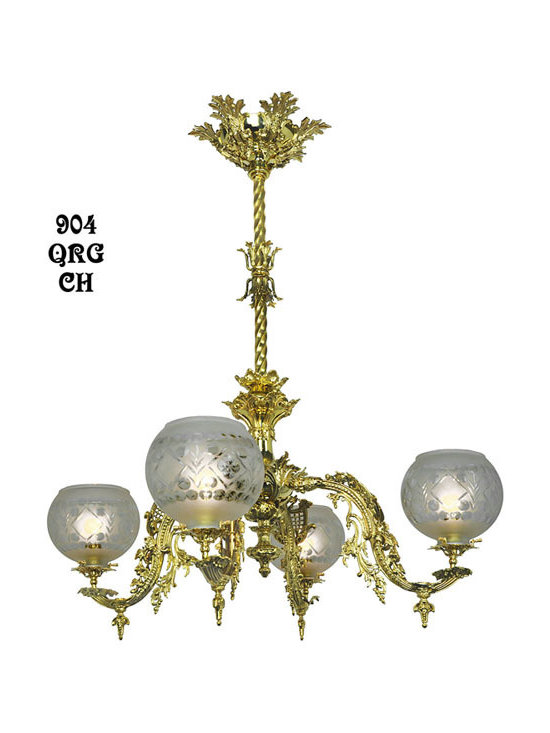 Victorian Chandeliers - Four arm chandelier is an authentic Starr-Fellows reproduction. Good bedroom size neo-rococo light, with the potential of up to 400 watts of light for large rooms.We create from an original provenance using solid brass, Lost Wax cast for greatest detail.