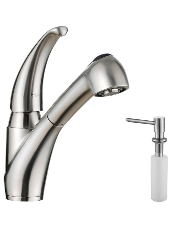 Kraus - Kraus KPF-2110-SD20 Single Lever Stainless Steel Pull Out Kitchen Faucet - Update the look of your kitchen with this multi-functional Kraus pull-out faucet
