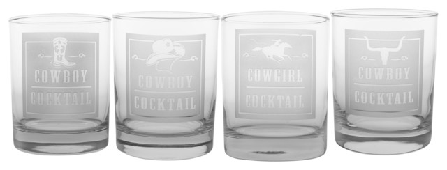 Rodeo DOF Gift Box Set (4 Different Designs) southwestern-cocktail-glasses