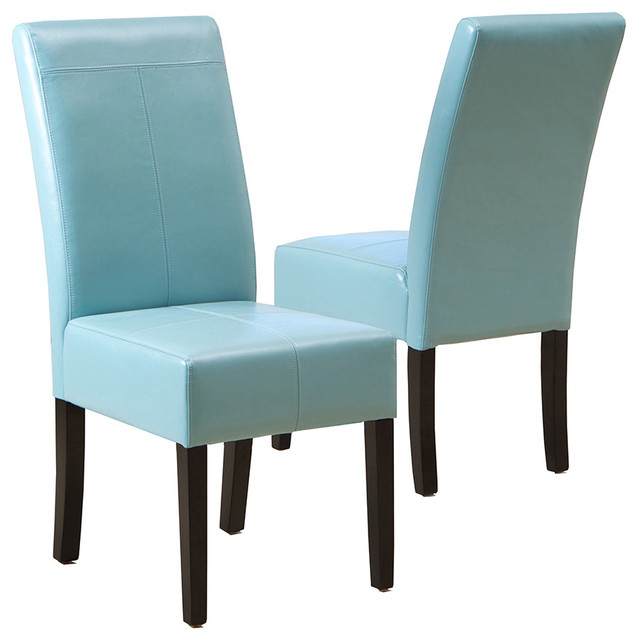 Stella Blue Leather Dining Chair Set Of 2 Transitional