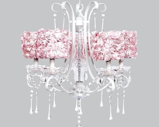 Belle & June - Pink Rose 5 Light White Colleen Chandelier - This strikingly elegant 5 light white Colleen chandelier features pink rose garden drum shades and hanging crystals throughout. We can't think of anything more charming than hanging this in a little girl's bedroom or nursery.