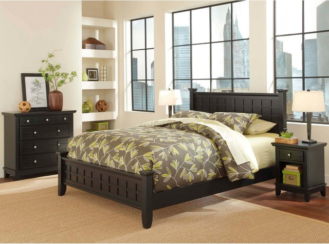 Arts and Crafts Black 3-piece Queen-size Bedroom Set contemporary-bedroom-furniture-sets