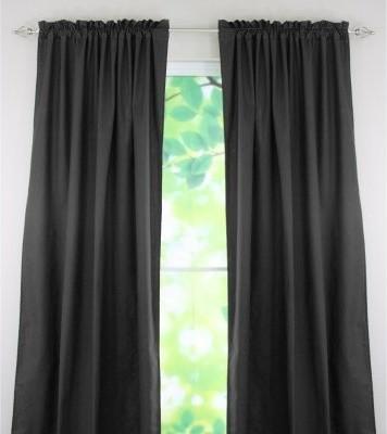Chooty and Co Duck Black Rod Pocket Curtain Panel modern-curtains