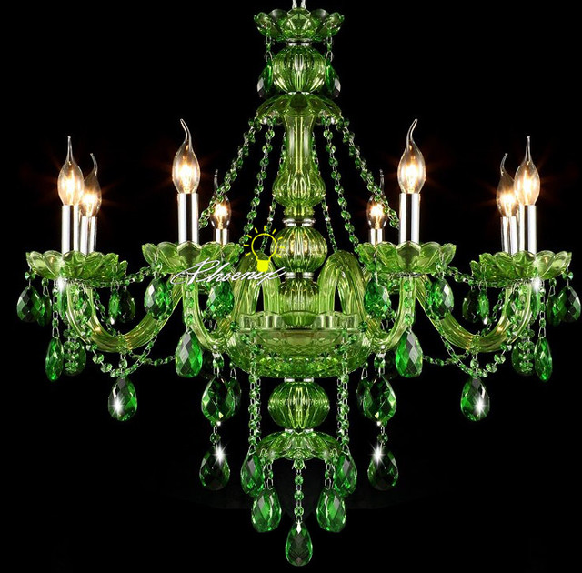 Modern Jade Green Crystal Chandelier - Contemporary ...