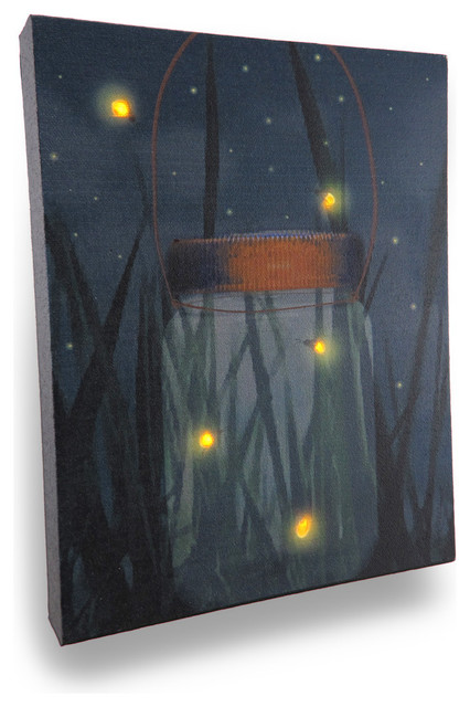 Vanity Lights Flickering : Flickering Jar of Fireflies Lighted LED Canvas Wall Hanging - Traditional - Prints And Posters ...