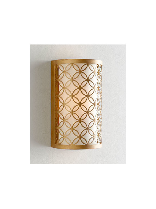 Horchow - Calypso Wall Sconce - A timeless geometric pattern of interlocking circles add a bit of intrigue to this captivating wall sconce. With its luxe gold-leaf finish, it accentuates transitional and modern decor beautifully. Made of wrought iron. Linen shade. Uses one 60-watt....