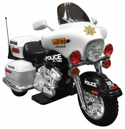 Police Motorcycle Ride On In White Modern Kids Toys