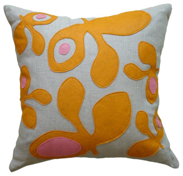 Modern Felt Pillows : Felt Applique Linen Pillow - Pod, Spice/Rose, 22x22 - Contemporary - Decorative Pillows - by ...