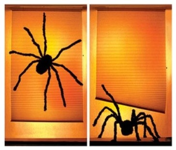 Shady Spiders Translucent Window Decorations contemporary-holiday-decorations
