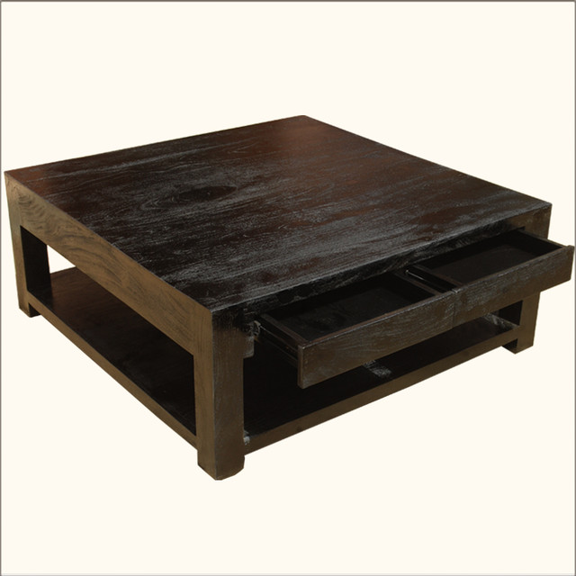Mango Hardwood Square Espresso Coffee Table Contemporary Coffee Tables