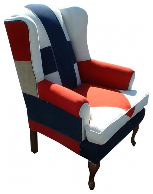 Nautical Signal Flag Wingback Chair eclectic-chairs