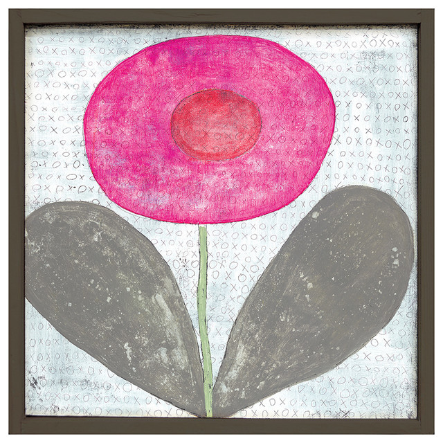 Happy Flower 'XOXO' Reclaimed Wood Art Print Wall Art - Small transitional-prints-and-posters