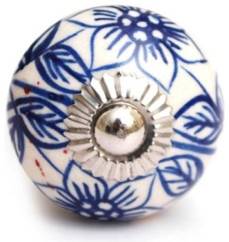 White Ceramic Cabinet Knob with Blue Flowers - Traditional - Cabinet And Drawer Knobs - by ...