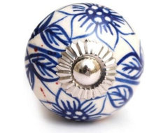 White Ceramic Cabinet Knob with Blue Flowers traditional-knobs