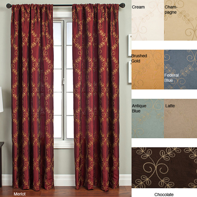 renzo chain stitch faux silk 96 inch curtain panel