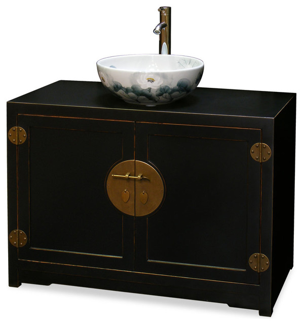 Elmwood ming style vanity cabinet asian bathroom for Tansu bathroom vanity