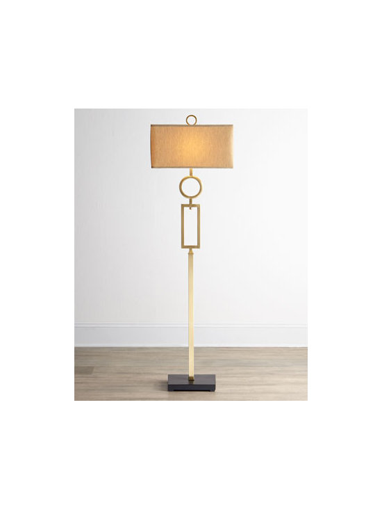 Horchow - Geometrics Floor Lamp - Stacked geometric shapes lend contemporary appeal to this tall, slender floor lamp balanced by a rectangular shade. Made of bronze-plated metal with a matte-black foot. Burnished-silver highlights. Hardback shade covered in synthetic fabric. Uses on...