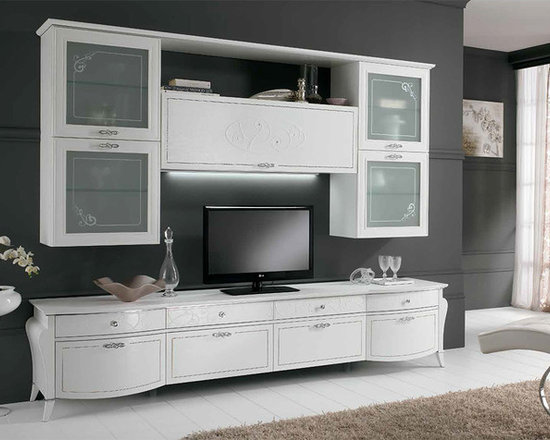 Wall Unit Entertainment Center Spar Prestige 101 - $7,649.00 - Wall Unit Entertainment Center Spar Prestige 101. Made in Italy by Gruppo Spar. Furnishings that enhance your space in every aspect, thanks to details and embellished decorative elements with Swarovski crystals, creating a great effect. Please contact our office about details on customization of this wall unit.