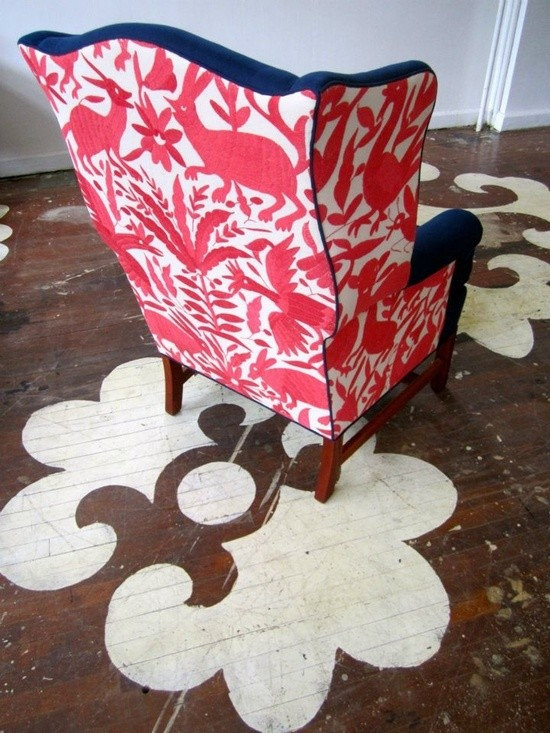 mexican otomi fabric - otomi coverlet from l'aviva home re-imagined. upholstery work (and photo) by chairloom.