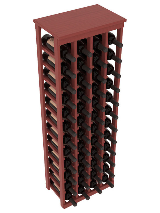 "Wine Racks America - 48 Bottle Kitchen Wine Rack in Ponderosa Pine, Cherry Stain + Satin Finish - Store 4 complete cases of wine in less than 20"" of wall space. Just over 4 feet tall, this narrow wine rack fits perfectly in hallways, closets and other ""catch-all"" spaces in your home or den. The solid wood top serves as a shelf or table top for added convenience and storage of nick-nacks."