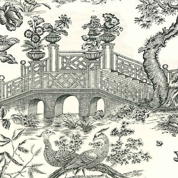 Black & White Asian Toile Linen Fabric traditional-upholstery-fabric