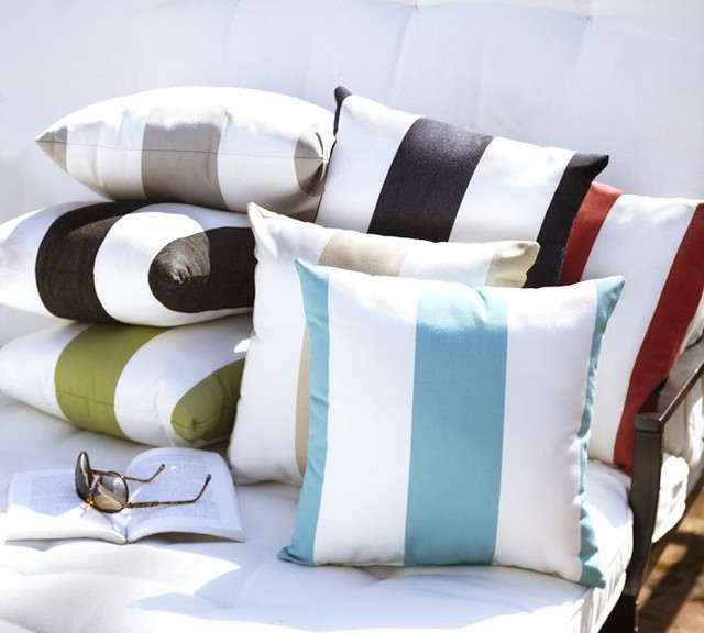Sunbrella Awning Stripe Outdoor Pillow Contemporary