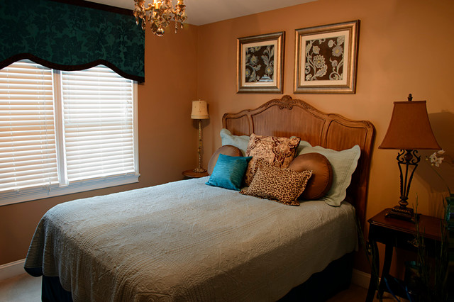 turquoise and brown guest bedroom mediterranean bedroom other