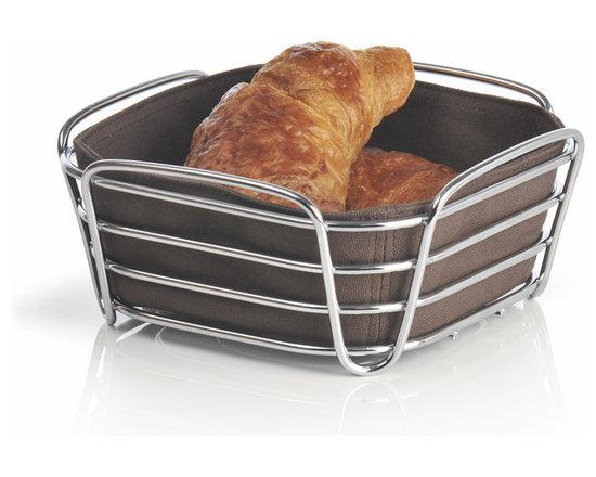 Blomus - Delara Bread Basket, Mocha, Small - The Blomus Delara Bread Basket is made with chrome-plated steel and cotton fabric insert.
