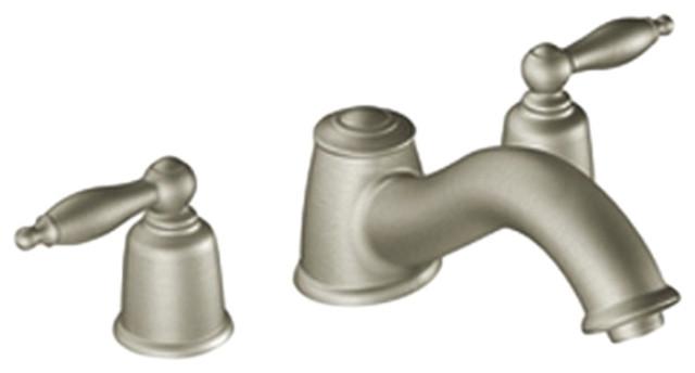Moen T6985bn Castleby Brushed Nickel Two Handle Roman Tub Faucet Modern Bathroom Faucets