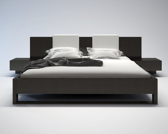 """Monroe Contemporary & Modern Bed by ModLoft - The Monroe platform bed is perfect for creating a look of Zen in your bedroom retreat. Both sleek and stylish, the Monroe features clean lines with newly designed footboard base. Mattress sits snugly atop a solid pine-slat base for stylistic durability and added comfort. Includes two square backrest pillows in white, black, or red leather, perfectly complimenting the headboard. Also includes pair of """"floating"""" single-drawer nightstands, seamlessly attaches to bed frame. Each nightstand measures 24W x 18D x 14H. Platform height measures 14 inches (7 inch inset). Available in California-King, Standard King, and Queen sizes. Available in wenge or walnut wood finishes. Assembly required. Total 5PC set includes bed, two nightstands, two backrest pillows. Mattress not included. Imported."""