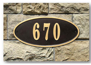 Claremont Oval Cast Aluminum Address Plaque, Bronze w/Gold Border modern-house-numbers