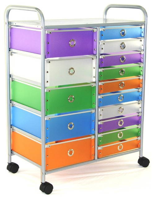 4D Concepts 363024 15-Drawer Rolling Storage in Multi Color Drawers - Modern - by Beyond Stores