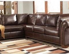Brown Leather Sectional Sofa traditional-sectional-sofas