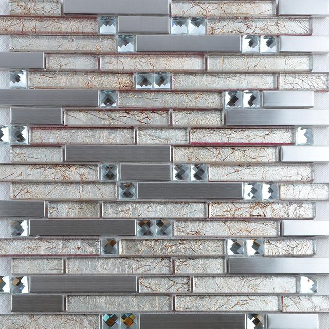 metallic tile backsplash 304 stainless steel crystal glass