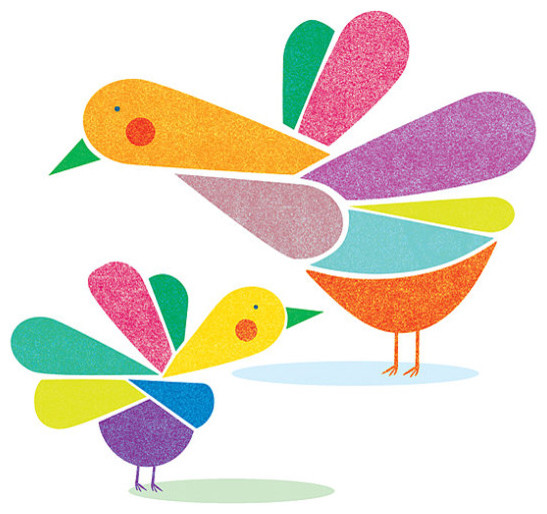 Birds and Colors Print By Judy Kaufmann contemporary-artwork