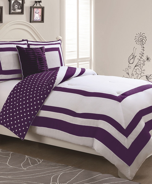purple polka dot reversible comforter set contemporary comforters and comforter sets by zulily. Black Bedroom Furniture Sets. Home Design Ideas