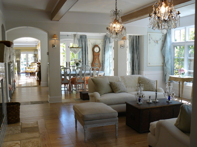 Open floor plan shabby chic living room san for Living room decor ideas houzz