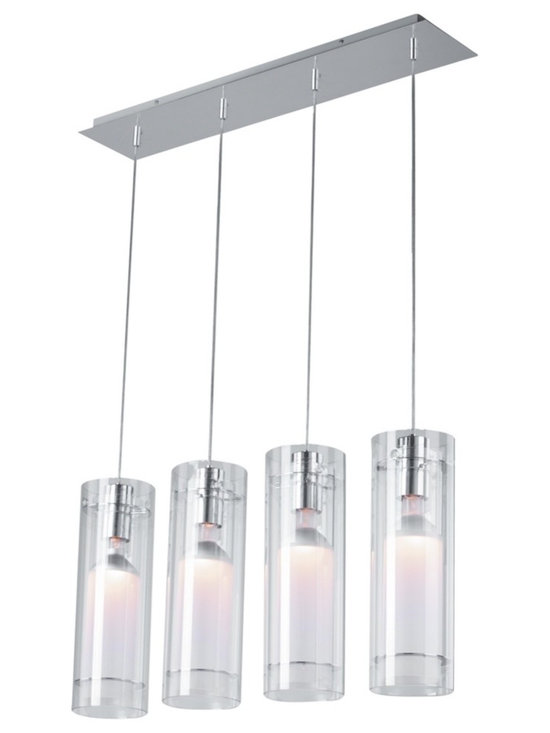 "ET2 - Clear Cylindrical ET2 Multi Pendant Light Fixture - This chandelier has four cylinder lights. Features clear glass cylinders that hang from a steel canopy side by side. Goes great with any contemporary style decor. Includes four 50 watt PAR-20 bulbs. 29 1/2"" wide 15"" deep. 136"" overall height.  Design by ET2 chandeliers.  A clean and modern pendant light.  Steel frame.  Includes four 50 watt PAR-20 bulbs.   29 1/2"" wide.   15"" deep.   Adjusts to 136"" high."