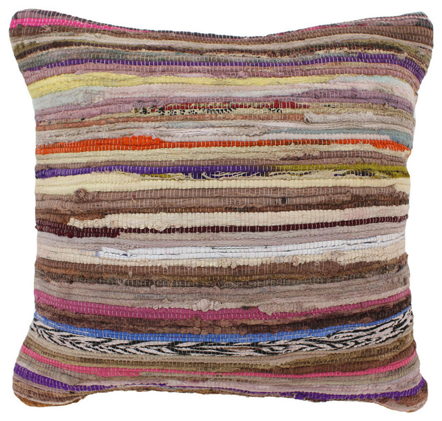 Multicolored Cotton Chindi Throw Pillow - Eclectic - Decorative Pillows - by Overstock.com